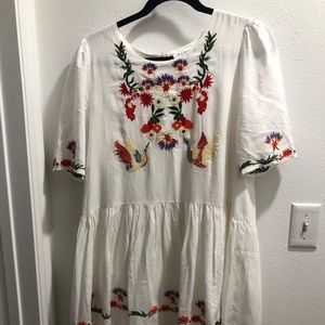 Anthropologie white embroidered short sleeve dress